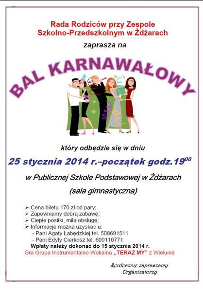 Zaproszenie Na Bal Karnawałowy Do żdżar Wiadomości
